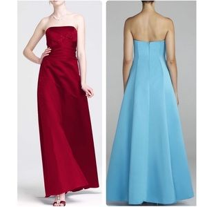 Satin And Organza Gown With Beaded Inset